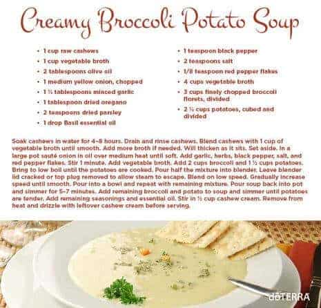 doTERRA Creamy Broccoli Potato Soup Recipe