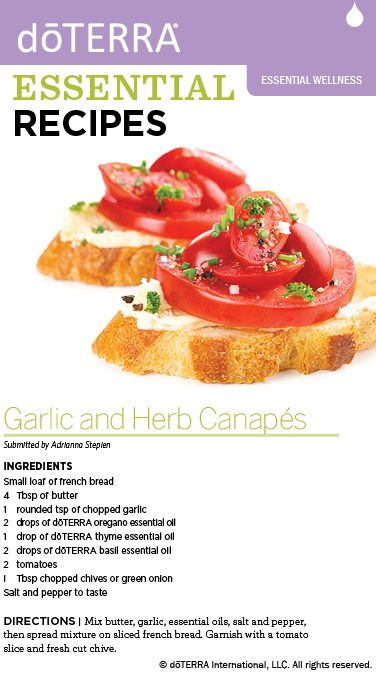 doTERRA Garlic and Herb Canapes Recipe