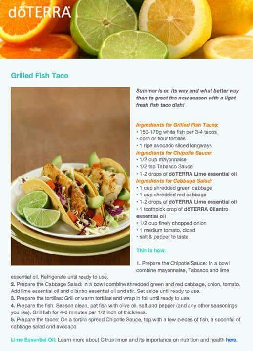 doTERRA Grilled Fish Tacos Recipe
