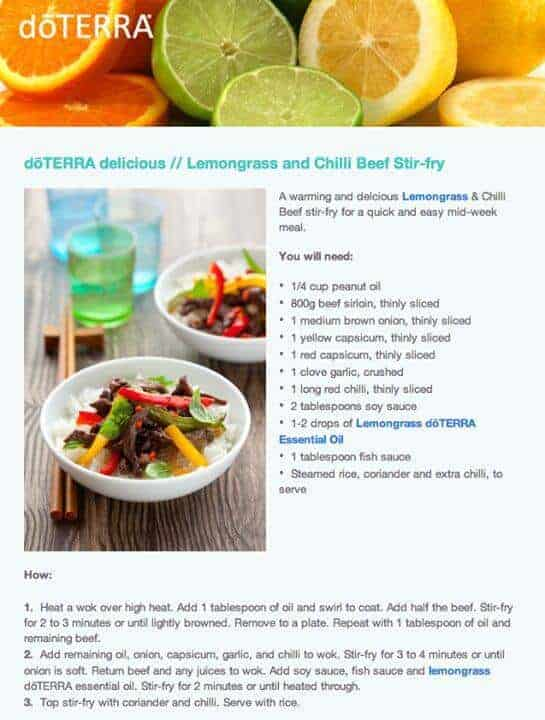doTERRA Lemongrass and Chili Beef Stir Fry Recipe