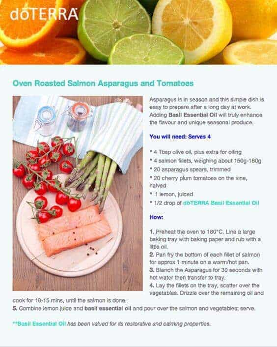 doTERRA Oven Roasted Salmon Asparagus & Tomatoes Recipe