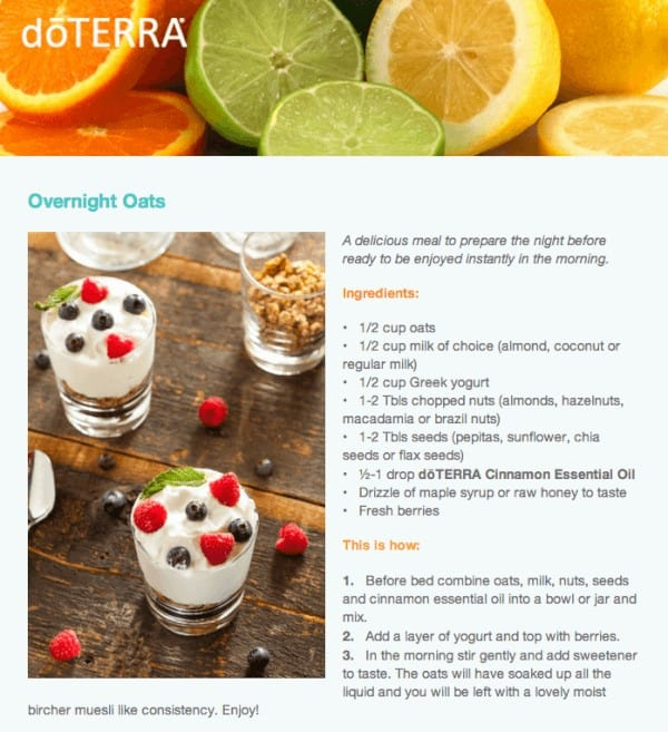 doTERRA Overnight Oats Recipe