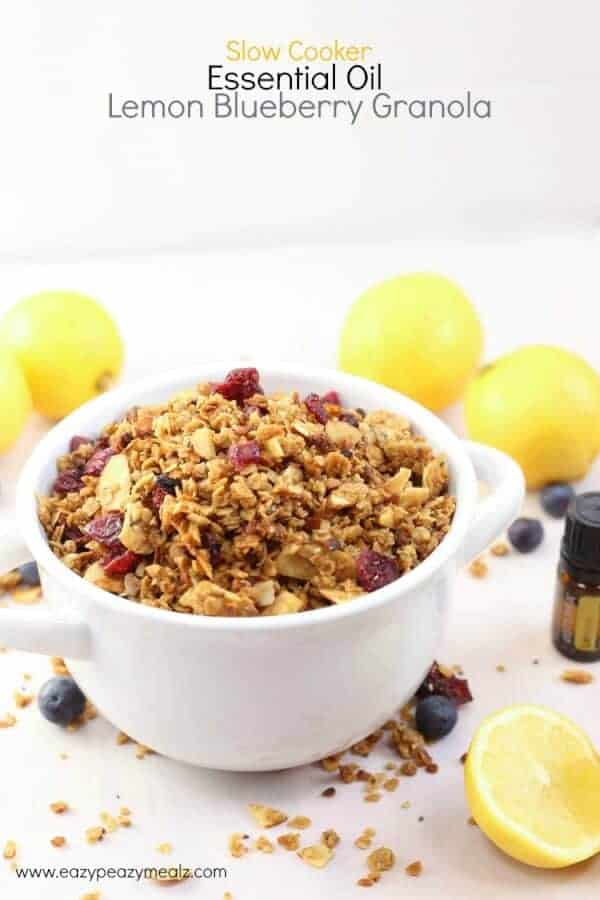 doTERRA Slow Cooker Essential Oil Lemon Blueberry Granola Recipe