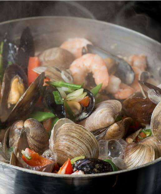 Steamed Shellfish in Aromatic Asian Broth