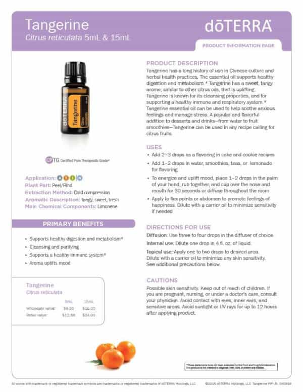 doTERRA tangerine product information page