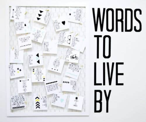 Words to Live By DIY Quote Vision Board with Printable