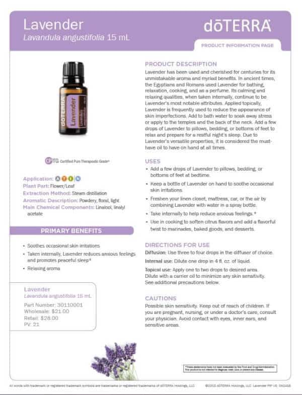 doTERRA Lavender Product Information Page