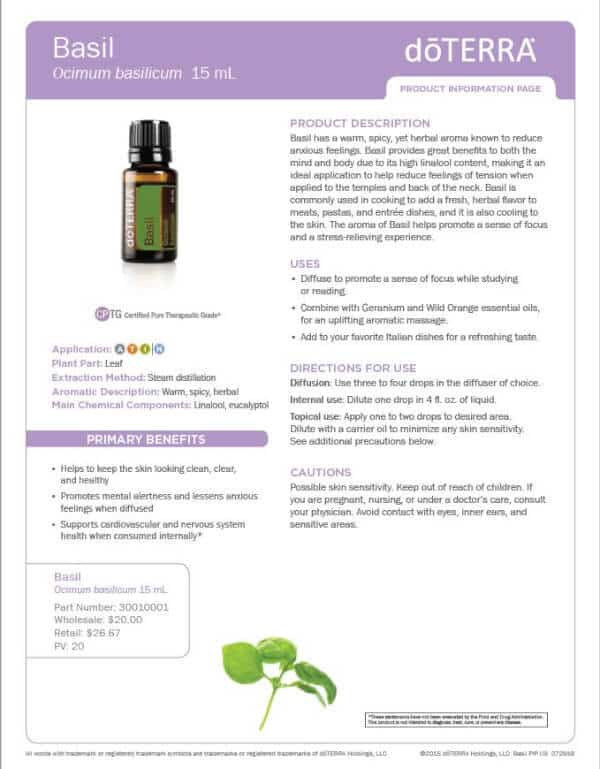 doTERRA Basil Essential Oil Uses