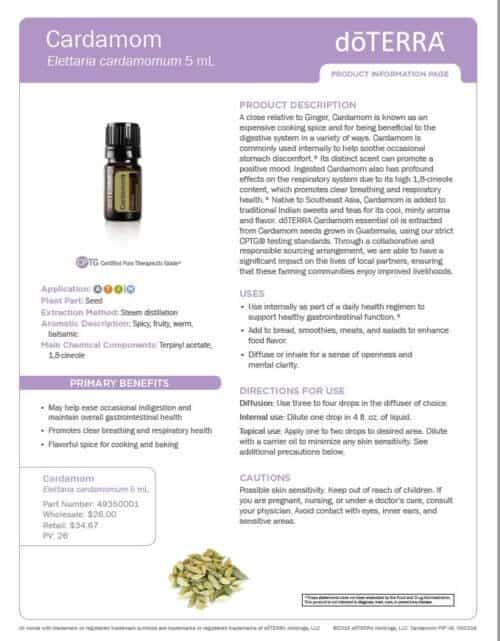 doTERRA cardamom Essential Oil Uses