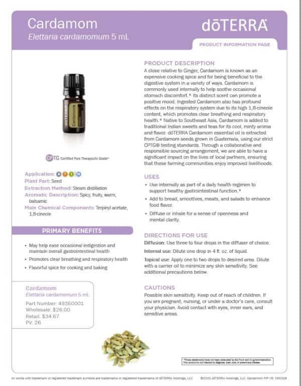doTERRA Cardamom Product Information Page