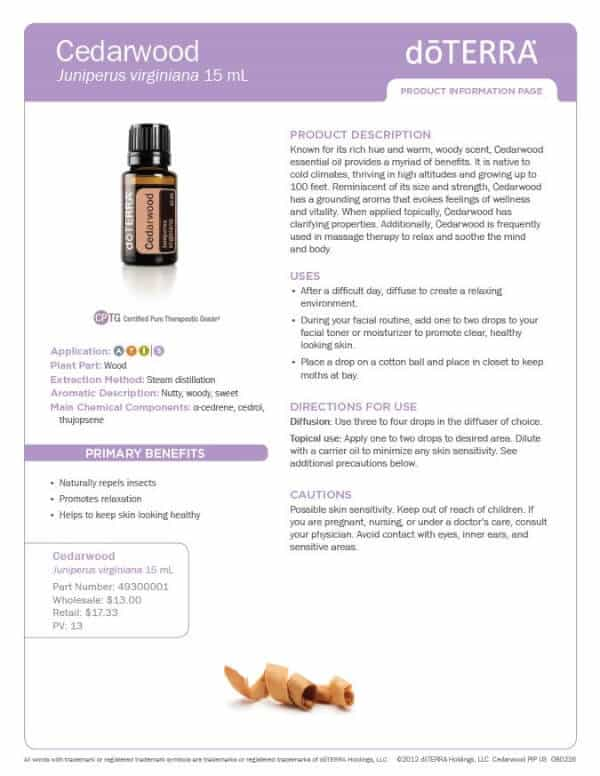 doTERRA Cedarwood Product Information Page