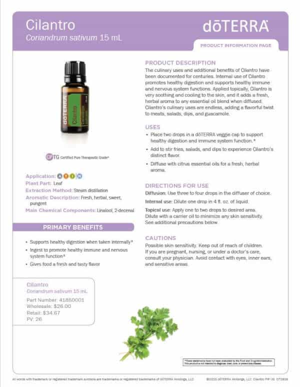 doTERRA Cilantro Product Information Page
