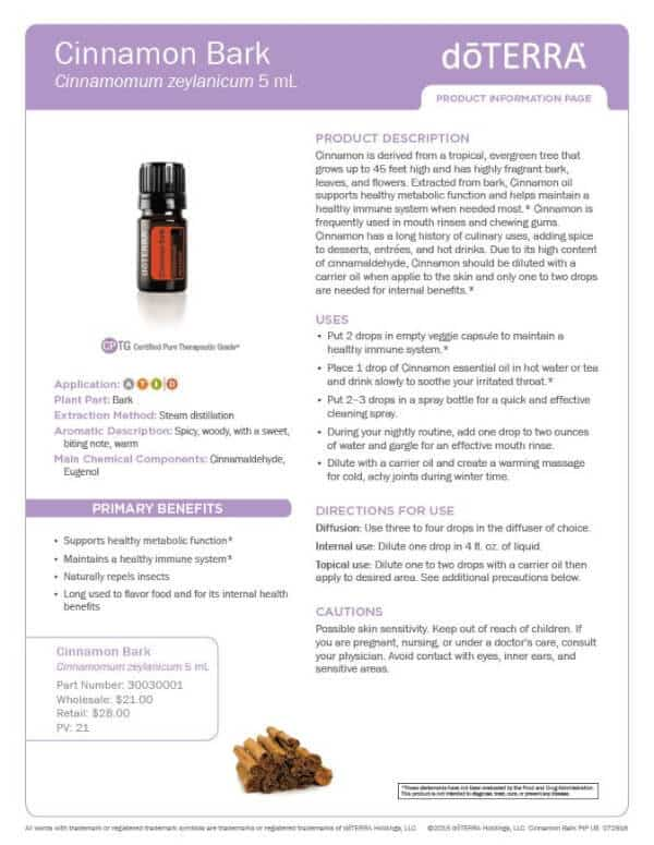 doTERRA Cinnamon Product Information Page