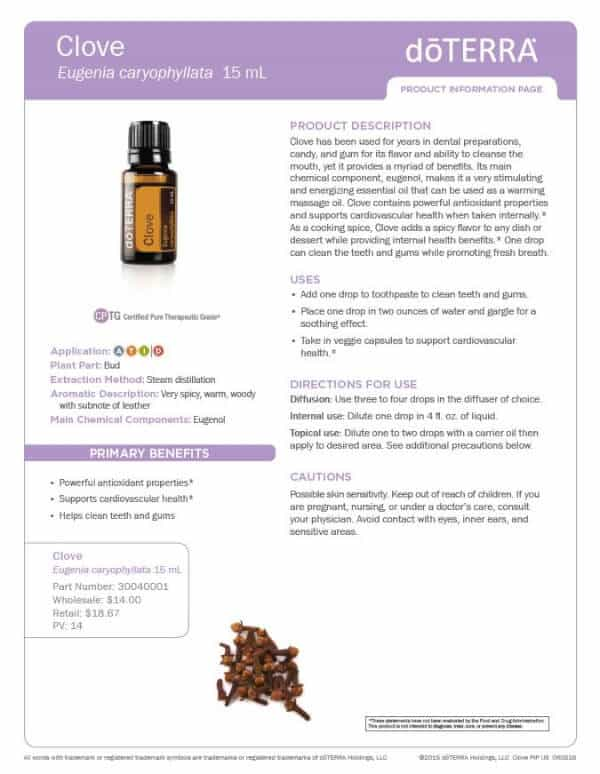 doTERRA clove Product Information Page