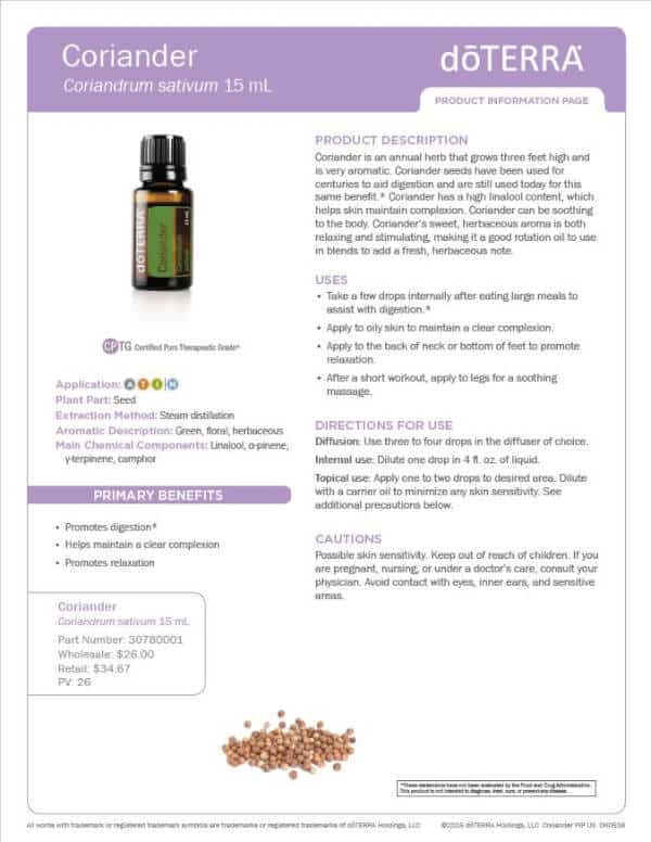 doTERRA Coriander Product Information Page