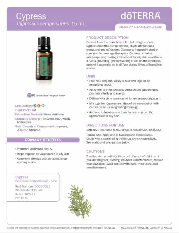 doTERRA Cypress Product Information Page