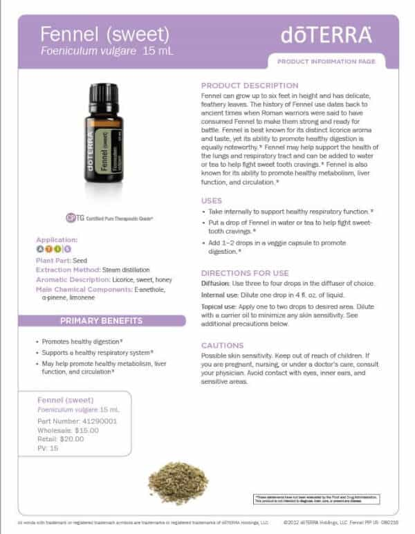 doTERRA Fennel Product Information Page