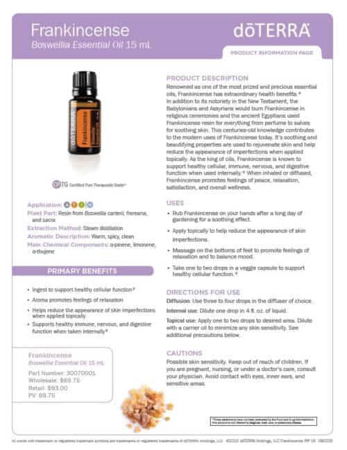 doTERRA frnkincense Essential Oil Uses