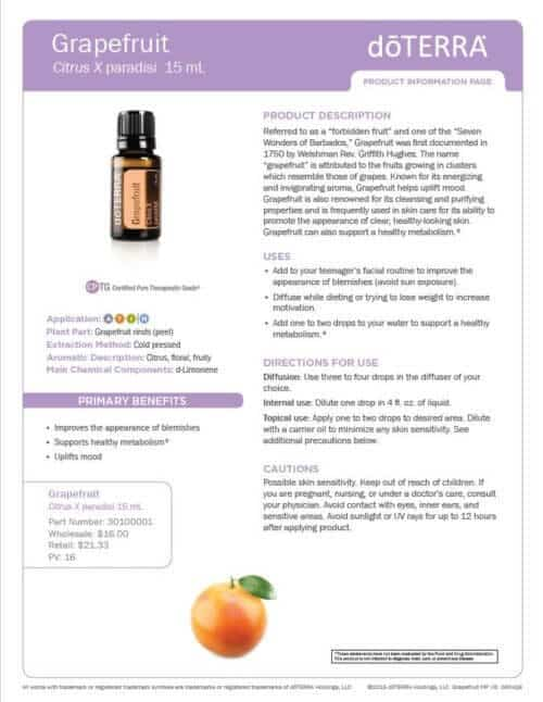 doTERRA grapefruit Essential Oil Uses