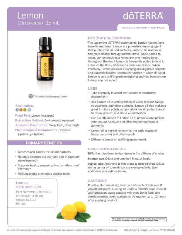 doTERRA Lemon Product Information Page