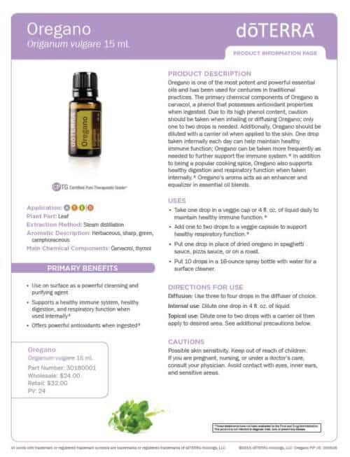 doTERRA oregano Essential Oil Uses