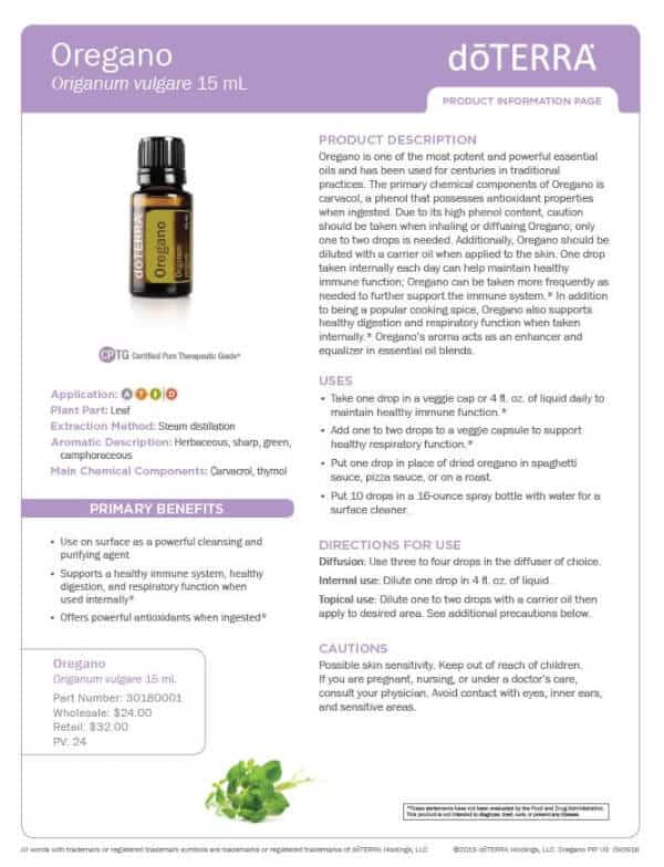 doTERRA Oregano Product Information Page