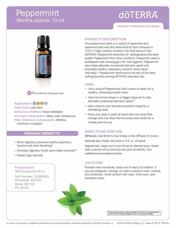 doTERRA Peppermint Product Information Page