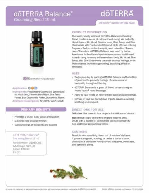 doterra balance essential oil uses