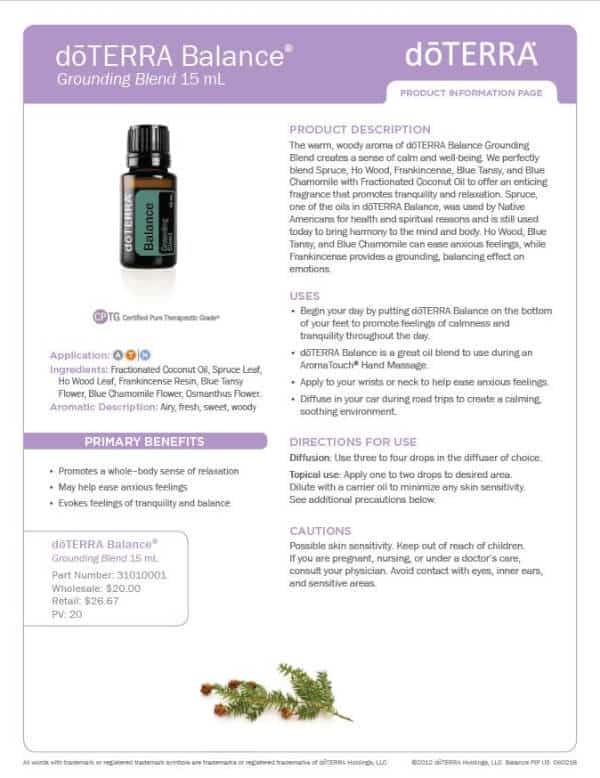 doTERRA Balance Product Information Page