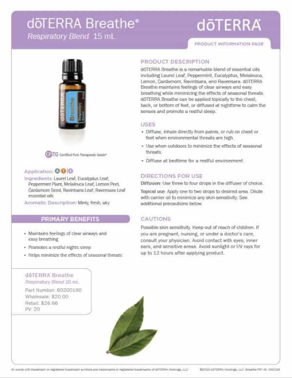 doTERRA Breathe Product Information Page