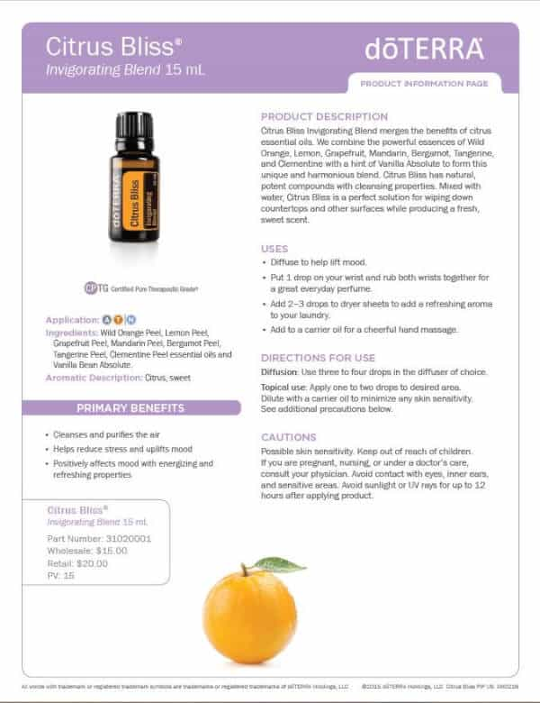 doTERRA Citrus Bliss Product Information Page