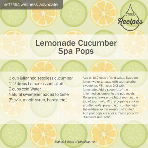 doTERRA lemonade cucumber spa pops