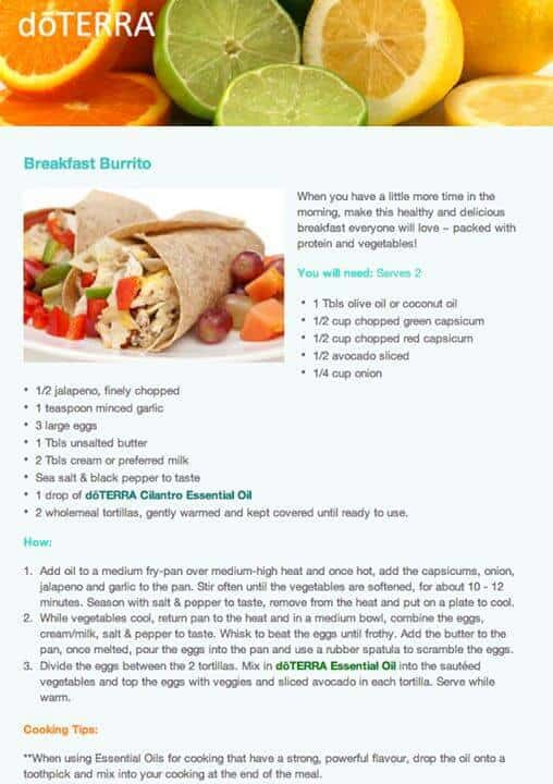 doTERRA Breakfast Burrito Recipe