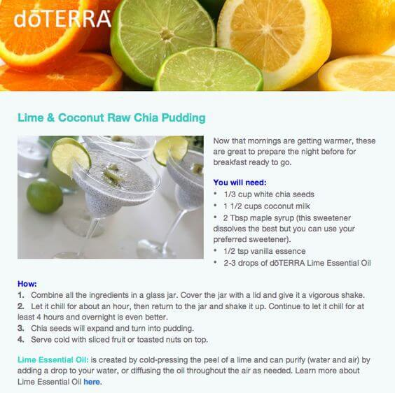 doTERRA Lime & Coconut Raw Chia Pudding Recipe