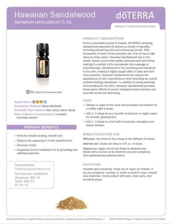 doTERRA Hawaiian Sandalwood Product Information Page