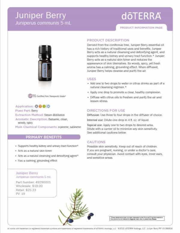 doTERRA Juniper Berry Product Information Page