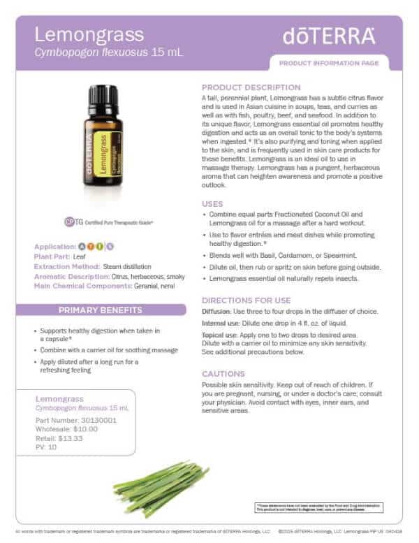 doTERRA Lemongrass Product Information Page