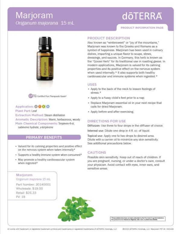 doTERRA Marjoram Product Information Page