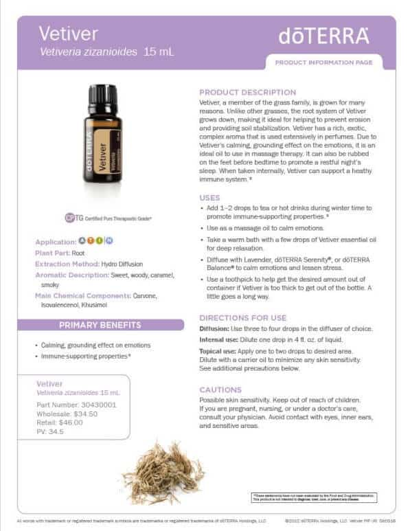 doTERRA Vetiver Product Information Page