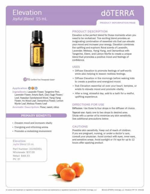 doterra elevation essential oil uses