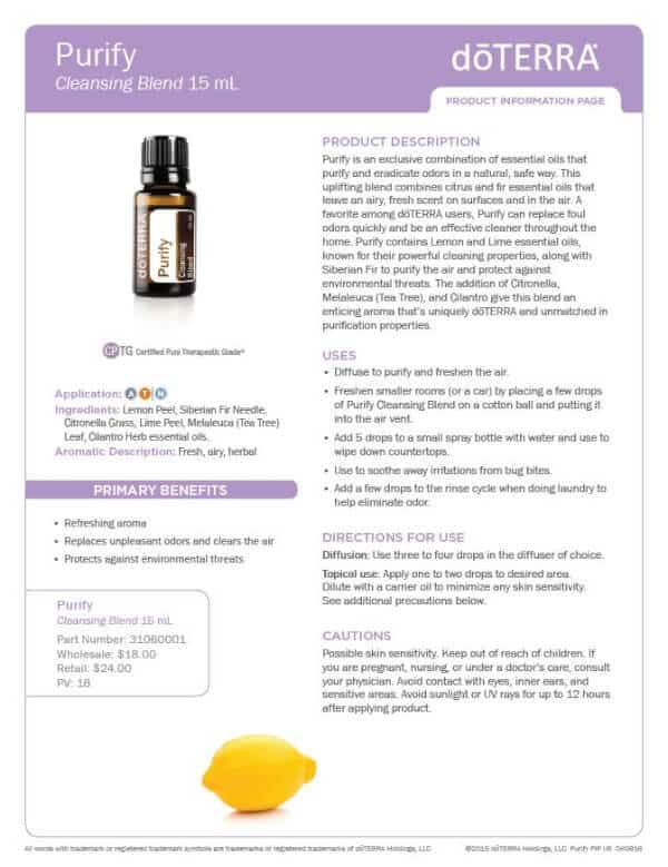 doTERRA Purify Product Information Page