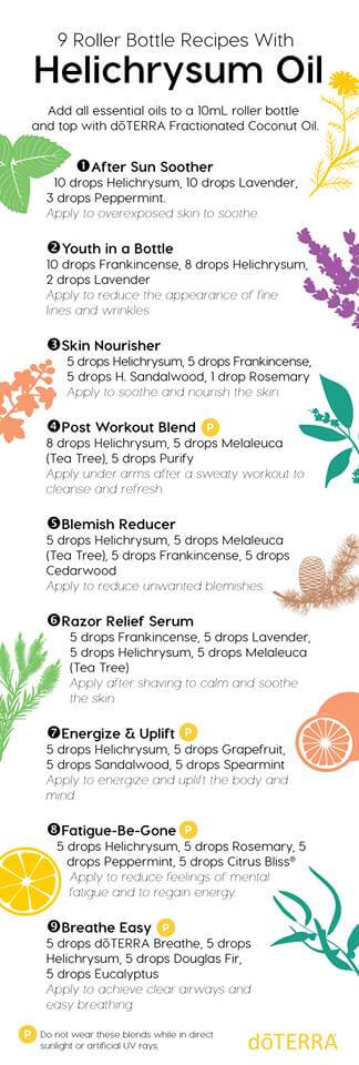 9 doTERRA helichrysum roller bottle recipes