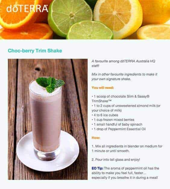 doTERRA Choc-Berry Trim Shake Recipe