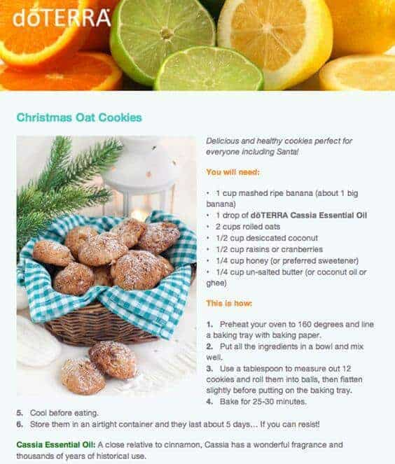 doTERRA Christmas Oat Cookies Recipe