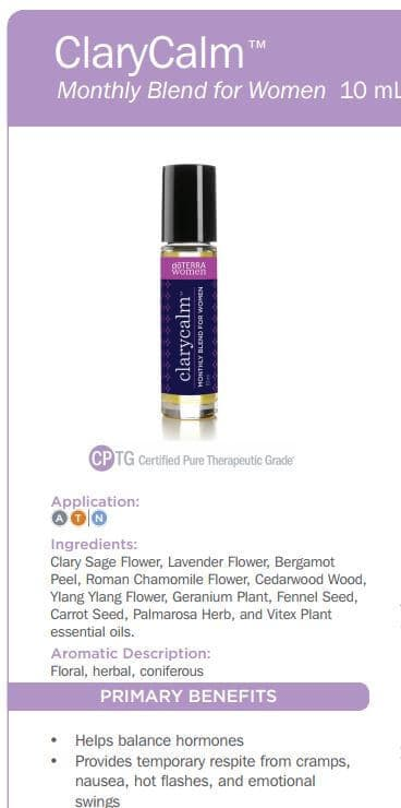 doTERRA ClaryCalm Monthly Blend for Women Uses