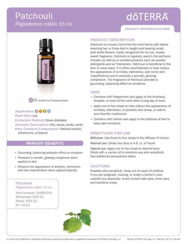 doTERRA Patchouli Product Information Page