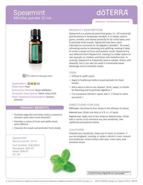 doTERRA Spearmint Product Information Page