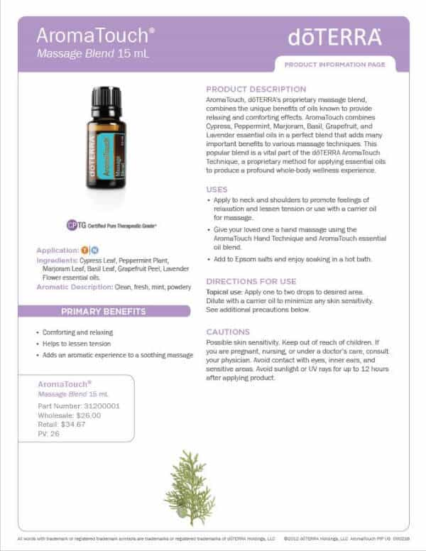 doterra aroma touch essential oil uses