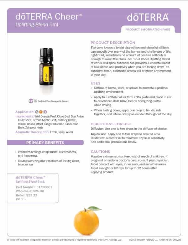 doTERRA Cheer Product Information Page