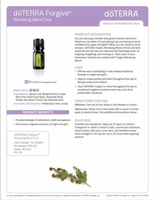 doterra forgive essential oil uses